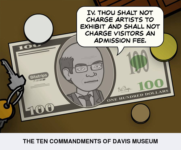 Thou shalt not charge artists to exhibit and shall not charge visitors an admission fee